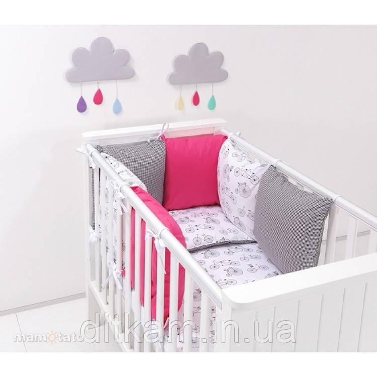 Комплект в кроватку Хатка 9 в 1 Велосипеды с розовым