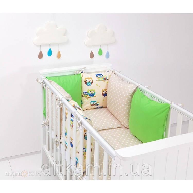Комплект в кроватку Хатка 9 в 1 Совы бежевый с зеленым