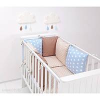Комплект в кроватку Хатка 9 в 1 бежевый с голубым