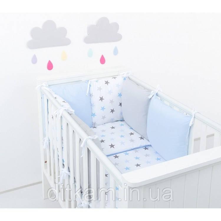 Комплект в кроватку Хатка 9 в 1 для мальчика голубой со звездами