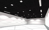 Потолок Грильято 200х200х30 черный оцинкованный Open-cell