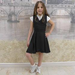 """Школьный сарафан для девочки """"хвостик"""" черный, размеры 30- 40"""