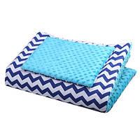 Плед для новорожденного Синий зигзаг с Голубым