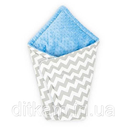Конверт для новорожденного Серый зигзаг с Голубым