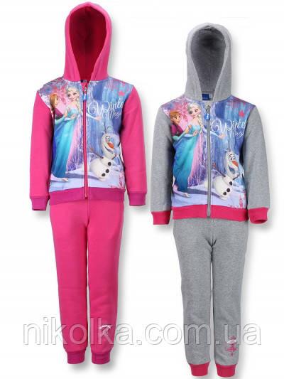Трикотажный костюм-двойка с начесом для девочек оптом, FROZEN, 3-8 лет. арт. 990-505