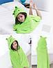 Дитячий халат з капюшоном зелений, фото 2