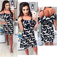 Платье короткое ,летнее  с воланом, модель 102,  принт белая Жар-птица на синем фоне, фото 1