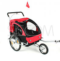 Велопричеп двохмісний Jogger Red амортизований, фото 1