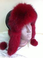 Женская  ушанка  с мехом песца красного цвета