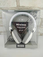 Наушники Bluetooth гарнитура BT-27 white-gray