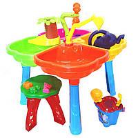 Столик для песка 01-121-1, с лейкой, набором, стульчиком
