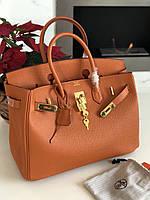 Женская сумка Гермес Биркин 35 см оранж (реплика), фото 1