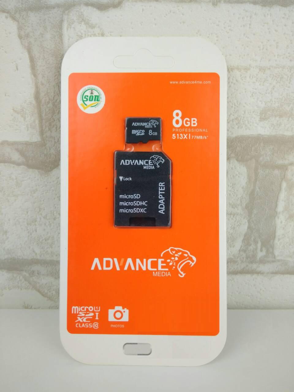 Карта памяти Advance MicroSD 8 Gb Class 10+SD адаптер