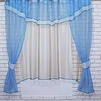 Комплект на кухню, тюль и шторки №58, Цвет голубой с бежевым(У)