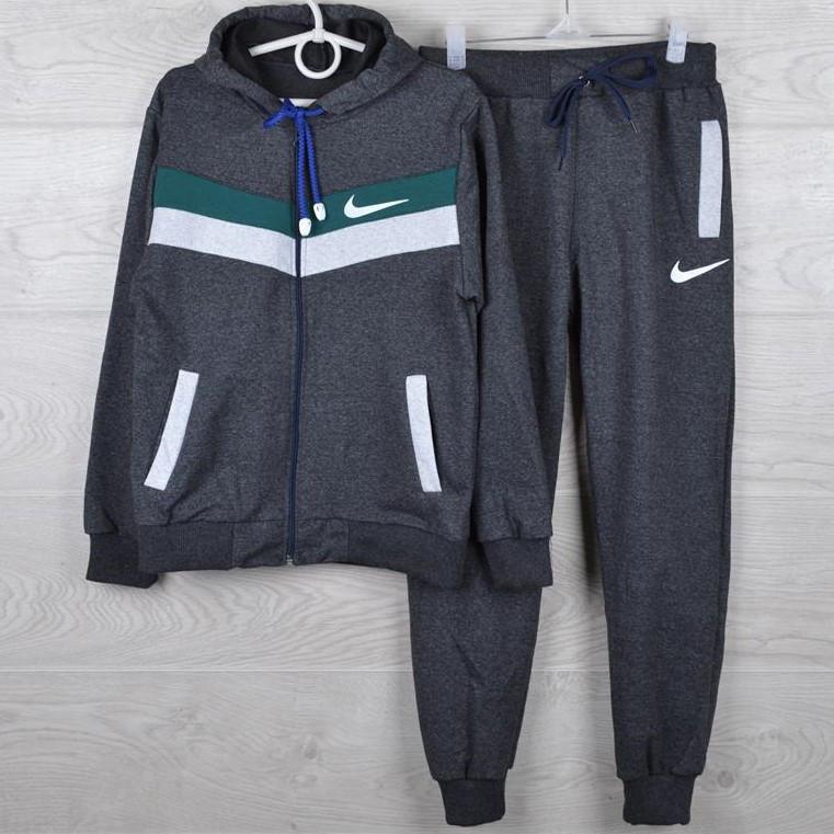 """Спортивный костюм подростковый """"Nike реплика"""" 7-12 лет. Темно-серый+зеленый+серый. Оптом"""