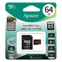 Карта памяти Apacer microSDHC 64GB UHS-I U1 Class 10 (R85 MB/s) + SD адаптер