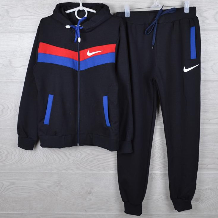 """Спортивный костюм подростковый """"Nike реплика"""" 7-12 лет. Черный+красный+электрик. Оптом"""