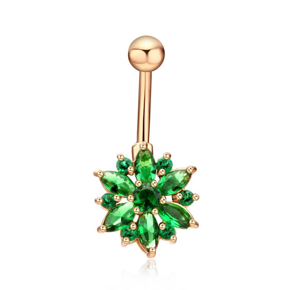 Пирсинг, сережка для пупка, украшенная горным хрусталем в форме ЦВЕТКА, цвет золото + зелёный камень