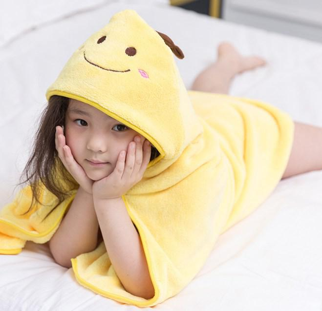 Рушник для дітей з капюшоном жовте