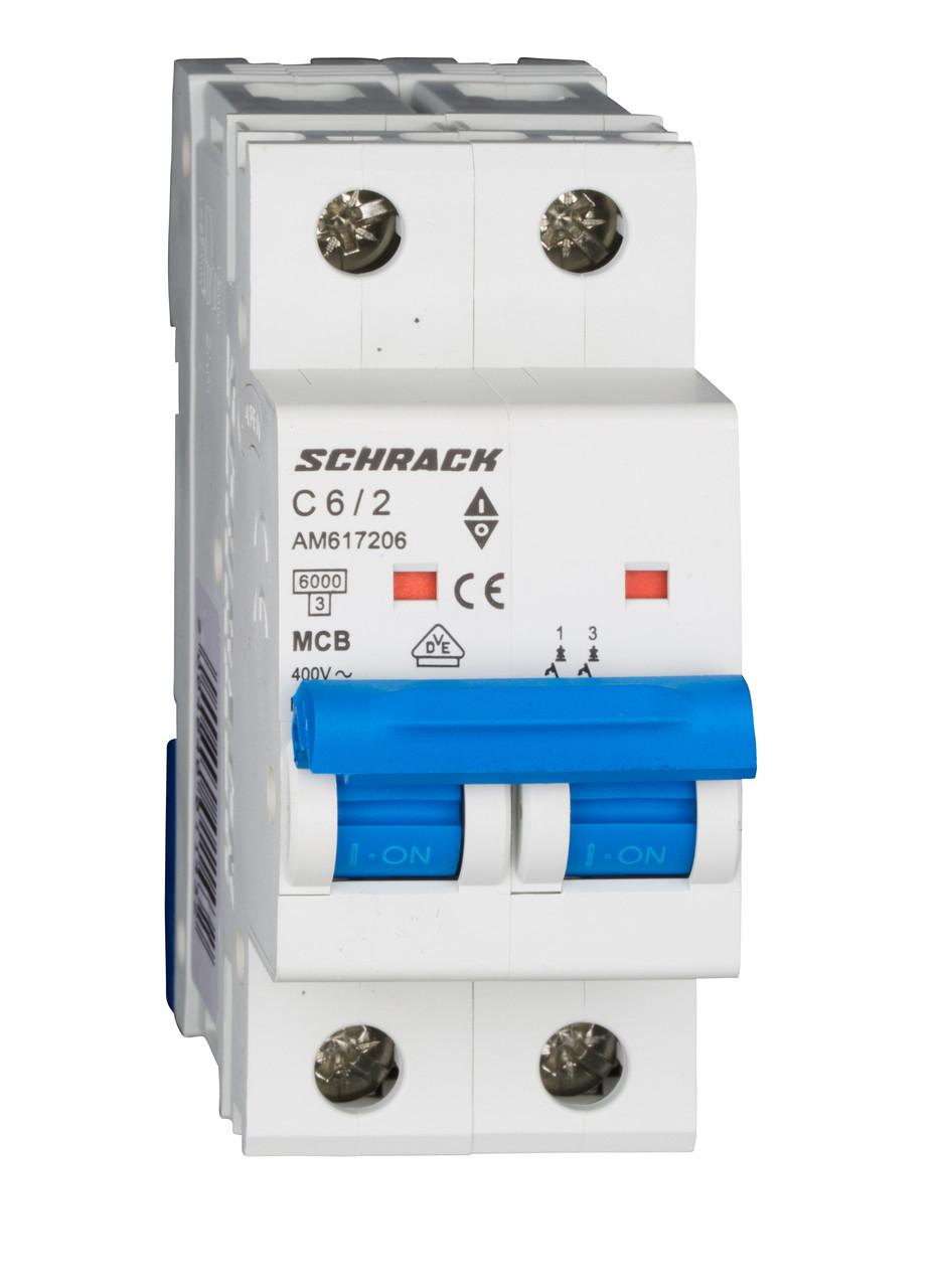 Автоматический выключатель 6кА 2P 6А х-ка C Schrack