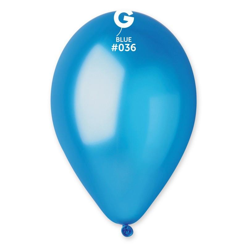 Шарики надувные Gemar GM90 Голубой металлик 10' (26 см) 100 шт