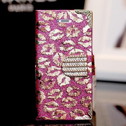 Чехол-книга для iPhone 6 Kisses с кристаллами