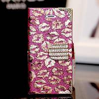 Чехол-книга для iPhone 6 Kisses с кристаллами, фото 1