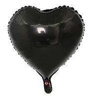 """Фольгированный шар без рисунка Сердце черное 18"""""""