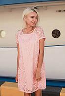 Кружевное свободное платье с коротким рукавом 14031673