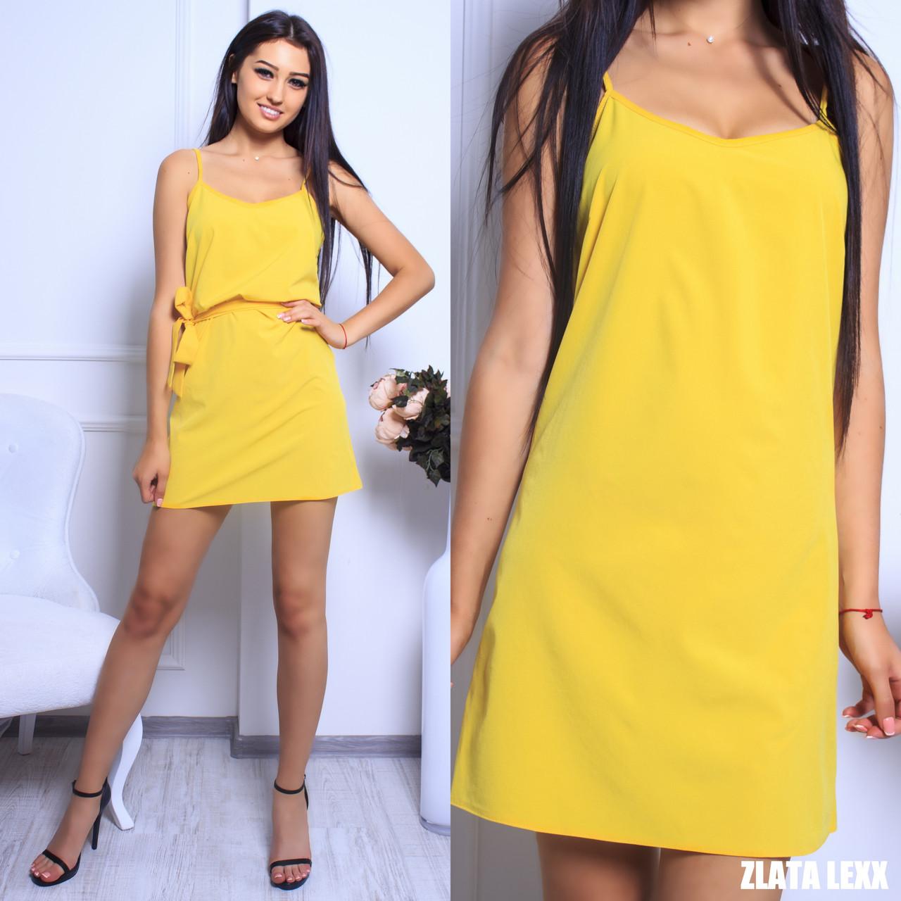 01e96850ef7 Купить Прямое лёгкое платье с поясом на бретелях 11031681 недорого в ...