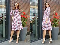 Принтованное платье-рубашка длиной миди и пышной юбкой 31031688, фото 1