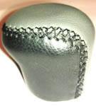 Ручка КПП Lanos (под кнопку)   короткая кожа  черный- серый гладкая ВК/GY, фото 1