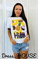 Женская футболка на лето с рисунком и прямого кроя 517166, фото 1