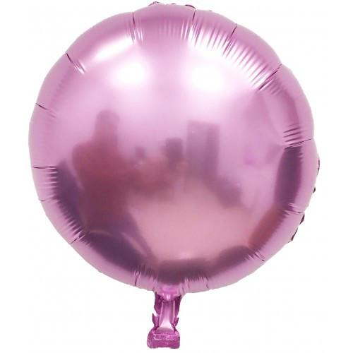 """Фольгированный шар без рисунка Круг розовый (металлик) 18"""""""