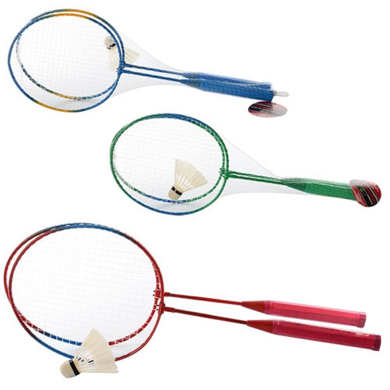 Бадмінтон залізний MS 0752 ракетки 2 шт., волан, 3 кольори, сітка, 56,5-20,5-4,5 см.