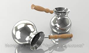 Джезва 300 мл медная (внутреннее  и внешнее покрытие серебро)