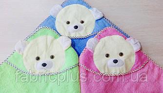 Детская простынь-полотенце 85х85 см (мишки) розовая