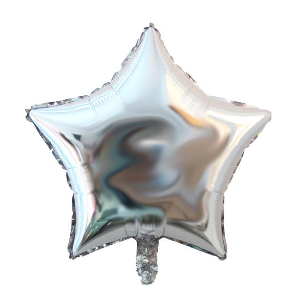 """Фольгированный шар без рисунка Звезда Серебряная 18"""""""