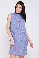 Модное платье на лето без рукав прямое выше колен клетка с цветами синее