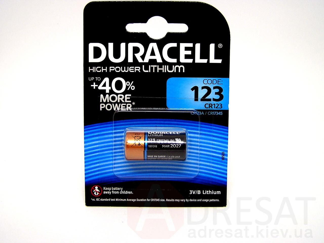 Батарейка Duracell ultra high power lithium battery 123 3v