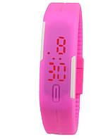 LED Часы - Браслет Спортивные Силиконовые Детские Наручные 2в1 Розовый и Жёлтый 008634