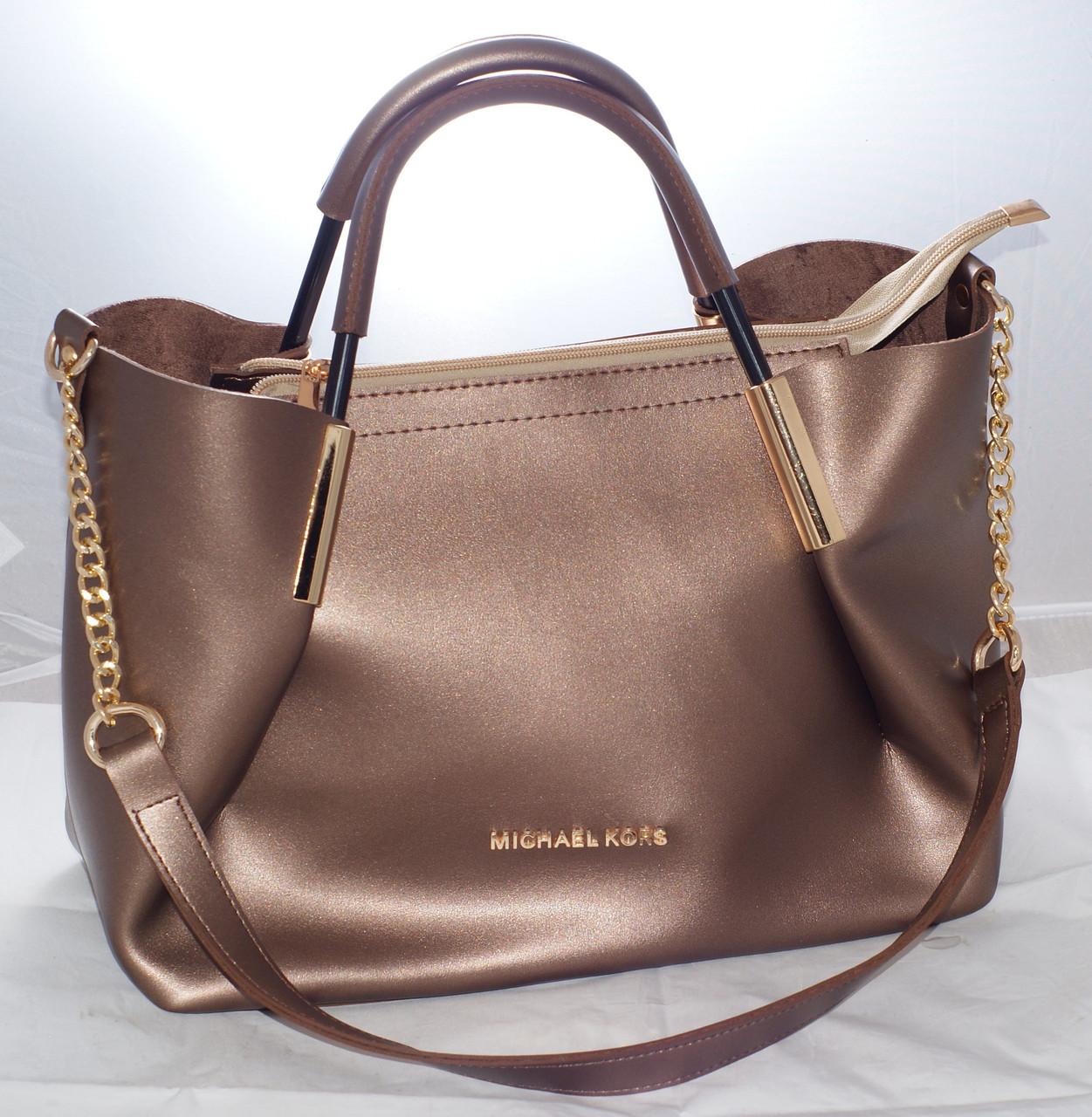 9ab2ff7732b7 Женская сумка Michael Kors (Майкл Корс) с отстёгивающейся косметичкой,  бронзовая