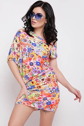 Летнее платье мини яркое спадающее с плеча облегающее оранжевое с цветочным принтом, фото 2