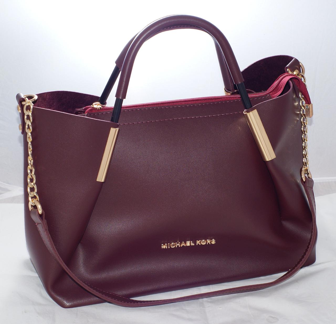 Женская сумкаMichael Kors (Майкл Корс)с отстёгивающейсякосметичкой, бордовая