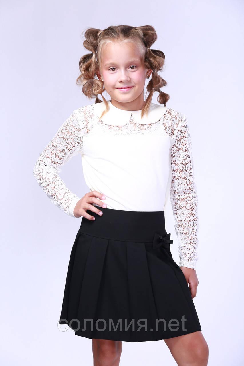 Витончена молочна блузка з довгим гипюровим рукавом для дівчинки 128-152р