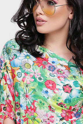 Красивое летнее платье короткое по фигуре зеленое с цветочным принтом, фото 2