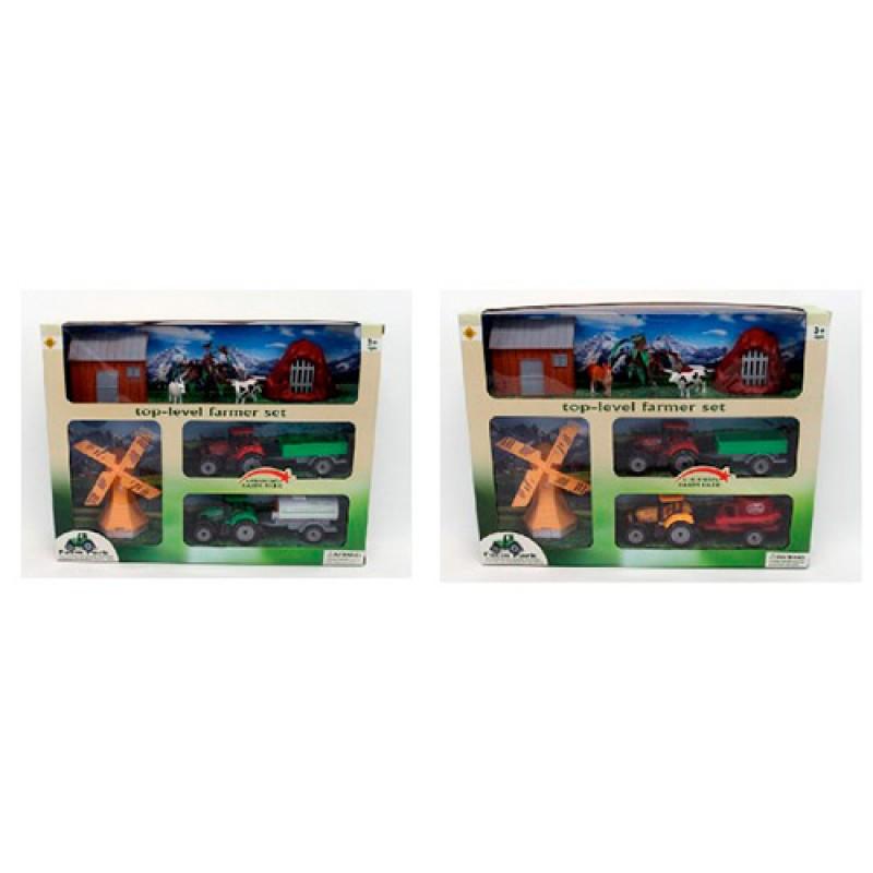 Игровой набор Ферма трактор с прицепом 2шт (металл) 38см, FC17-32-33