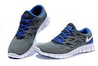 Кроссовки Nike Free Run 2.0 Gray Blue Серые мужские