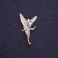 "Брошь ""Фея Динь Динь"" цвет металла серебро 3х1,8см"