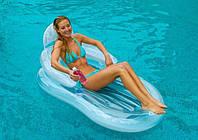 Надувное кресло-матрас Intex 58857, Матрас для плавания со спинкой 155*97см, Пляжный шезлонг-матрас с ручками